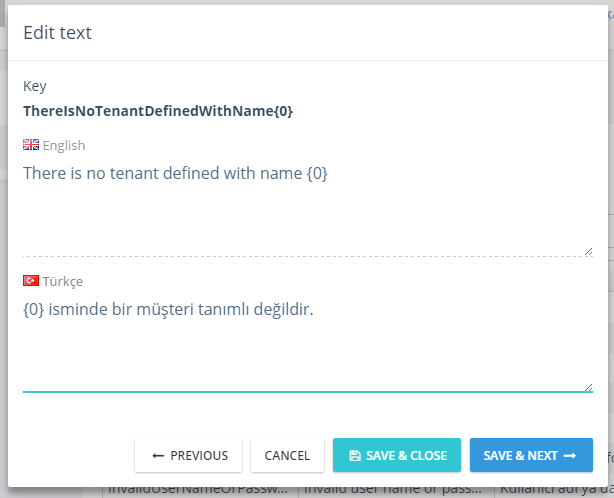 Language text edit modal