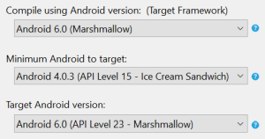 Xamarin Android Options