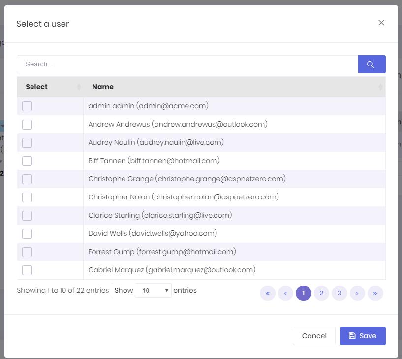 Select a user dialog