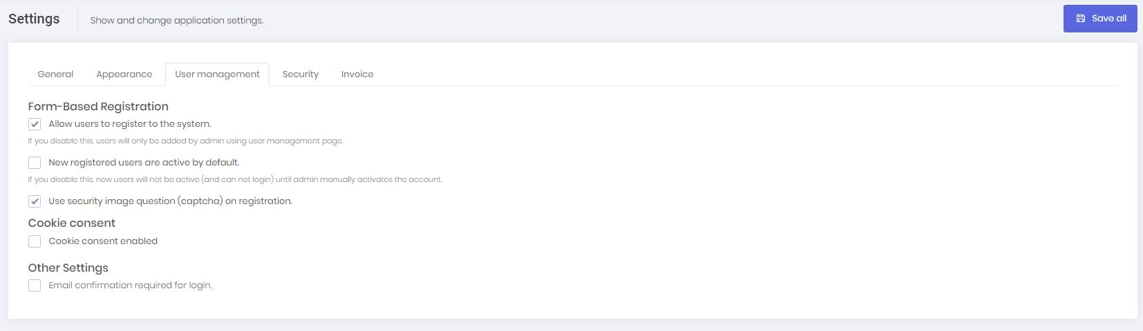 User management settings