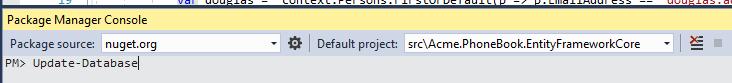 dotnet ef database update
