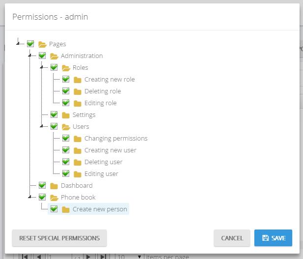 User specific permissions