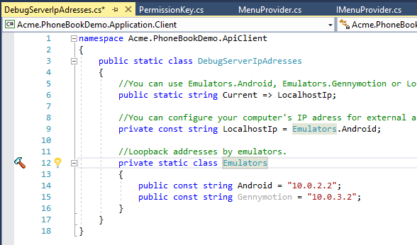 Configuring Host Address for Android Emulator