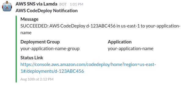 AWS CodeDeploy Notifications