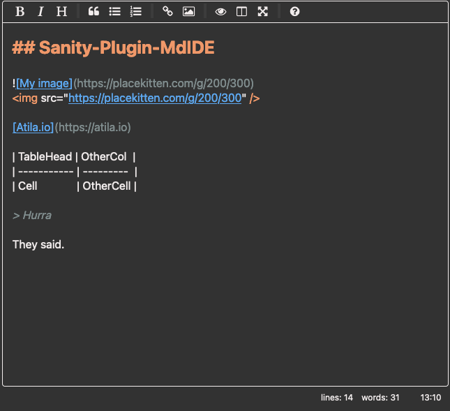 screenshot of Sanity-Plugin-MDIDE with dark colour palette