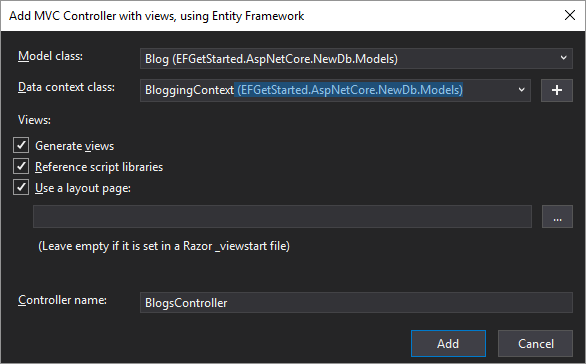 .net Core MVC Demo Scaffolding