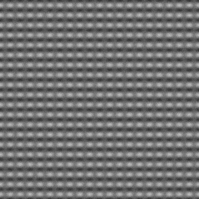 Using value noise to generate an atomic lattice picture. Grid sizes: 2x2, 400x400, Canvas Size: 400x400, Scale Factors: 20x20, 1x1