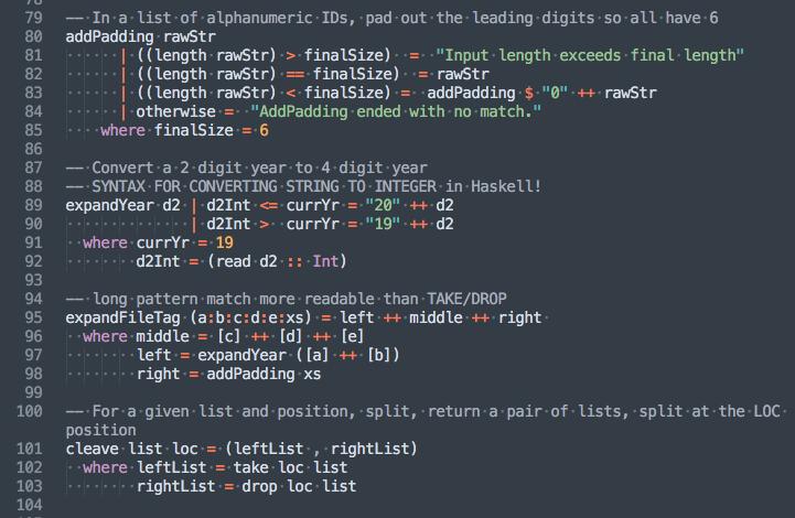 screenshot of Oscar.hs code