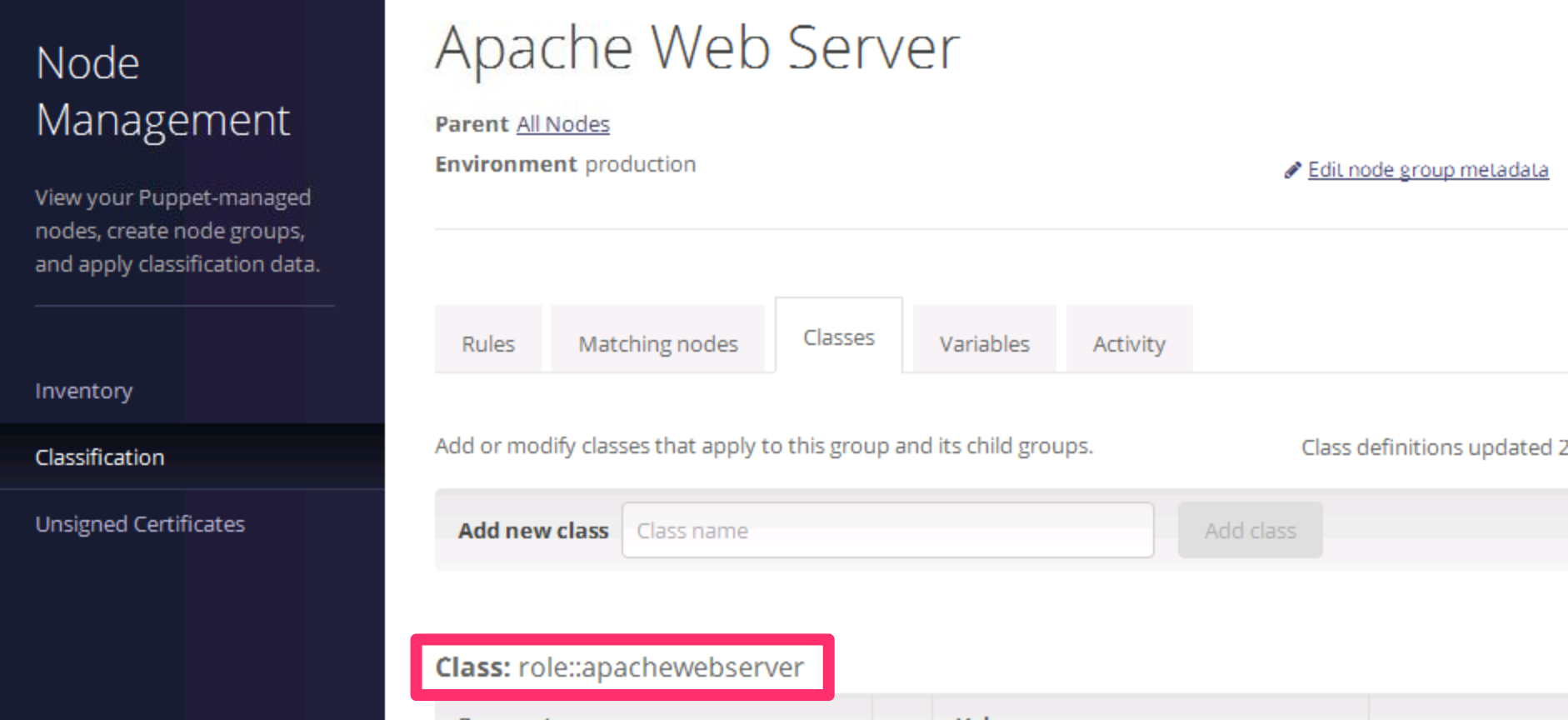 Apache Web Server Classes
