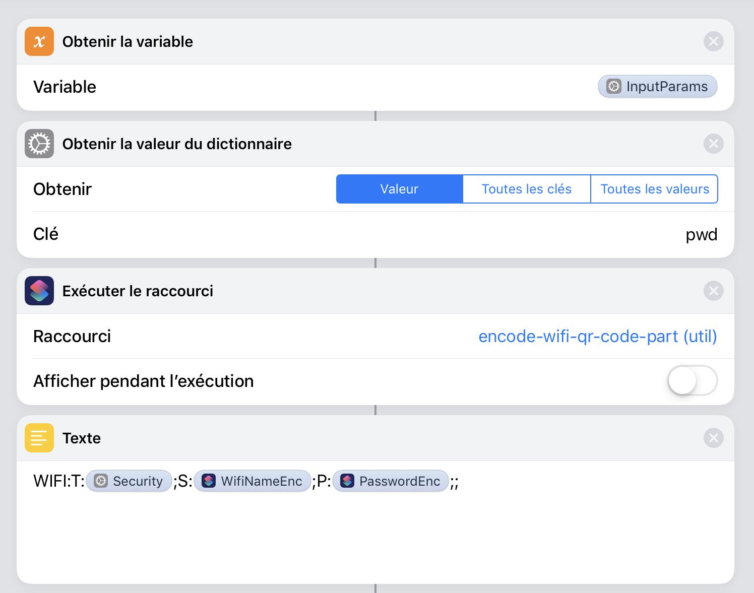 Récupération du mot de passe et construction du contenu du code QR.