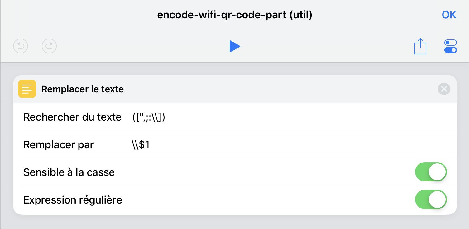 Encodage des noms et mot de passe du réseau, le raccourci réutilisable.