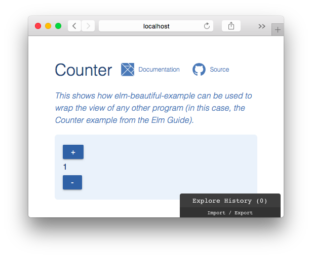 Screenshot of a Counter example using elm-beautiful-example