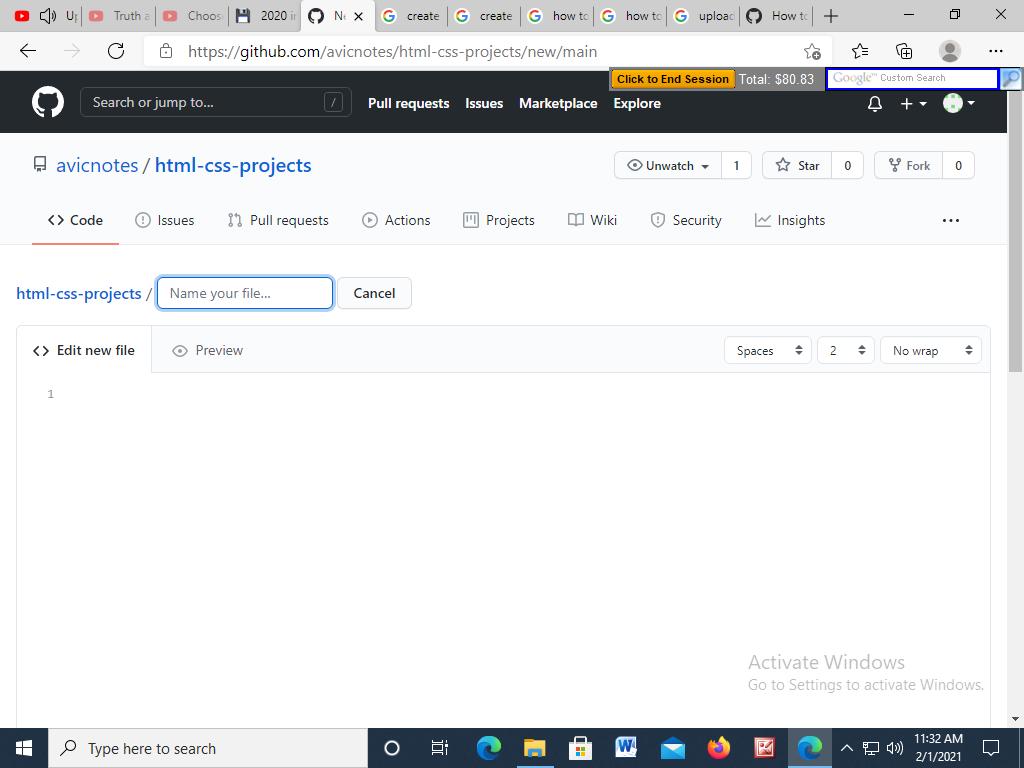 Create new file option Github