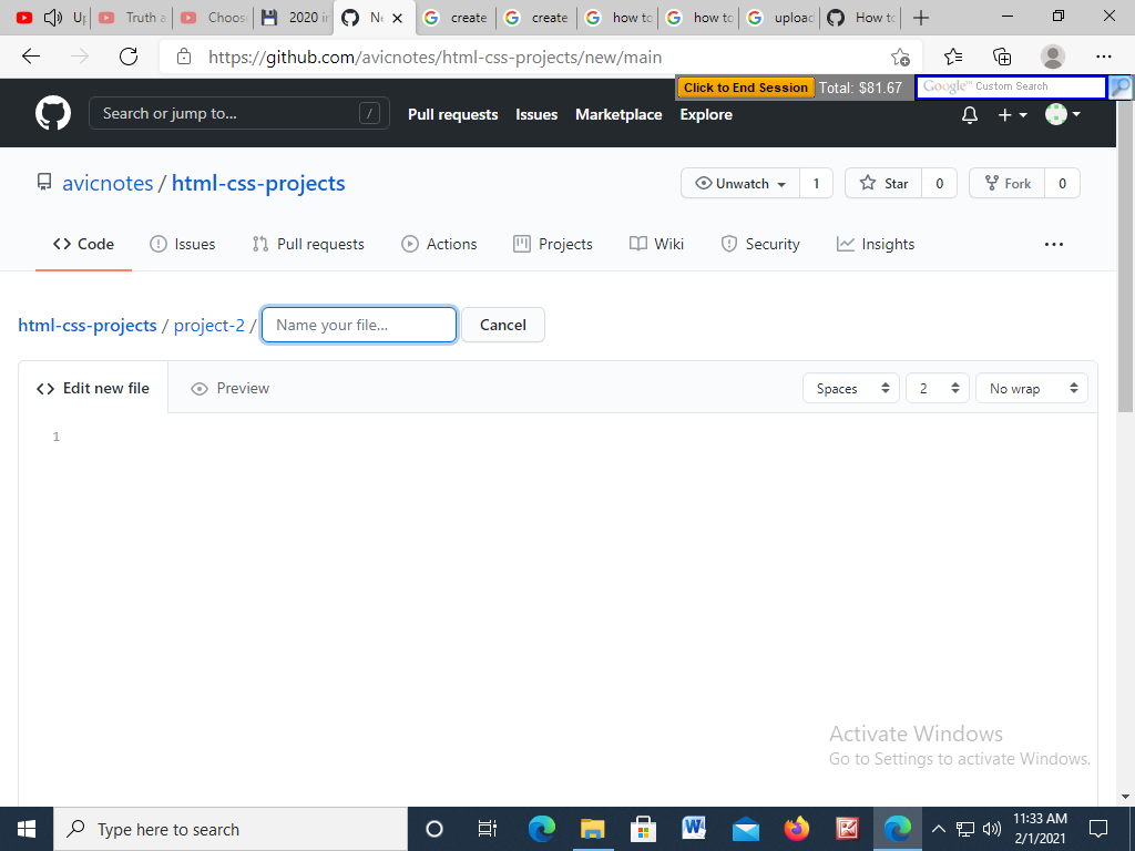 View of folder name created Github