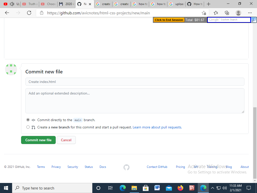 Commit file to Github