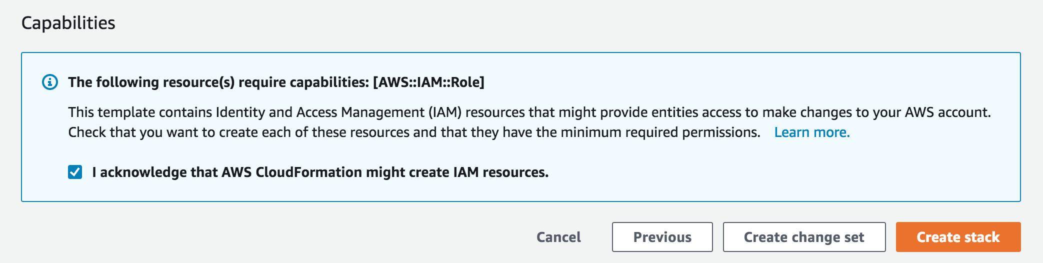 IAM resources acknowledgement