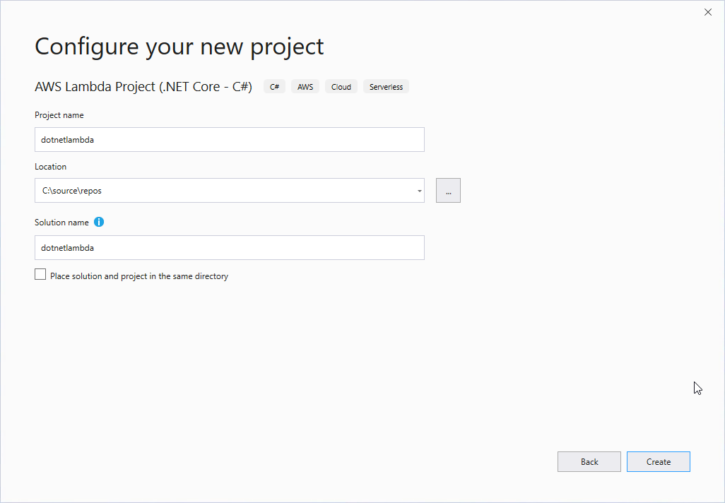 Figure 2 - Configure your new project Dialog