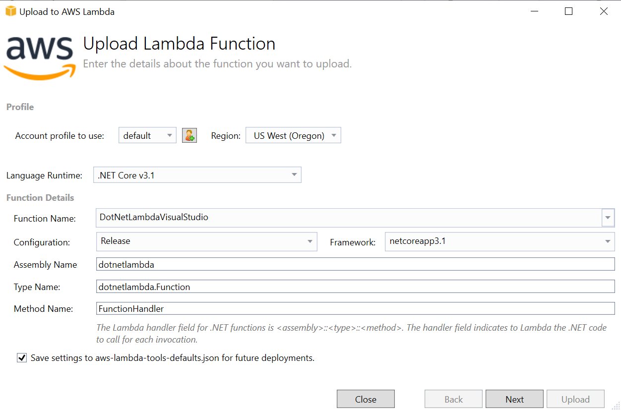 Figure 5 - Upload Lambda Function Wizard Step 1