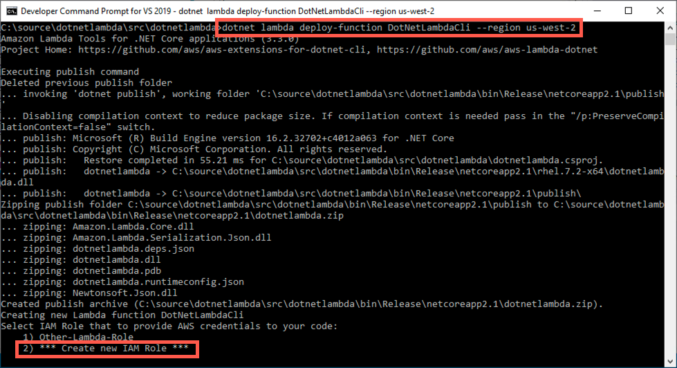 Figure 9 - dotnet lambda deploy-function command