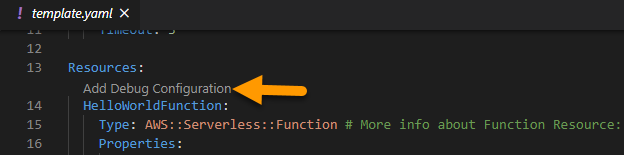 Add Debug Configuration Template