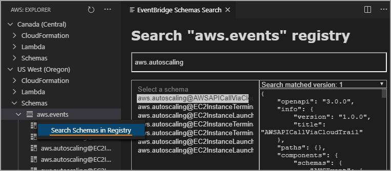 View Amazon EventBridge Schemas
