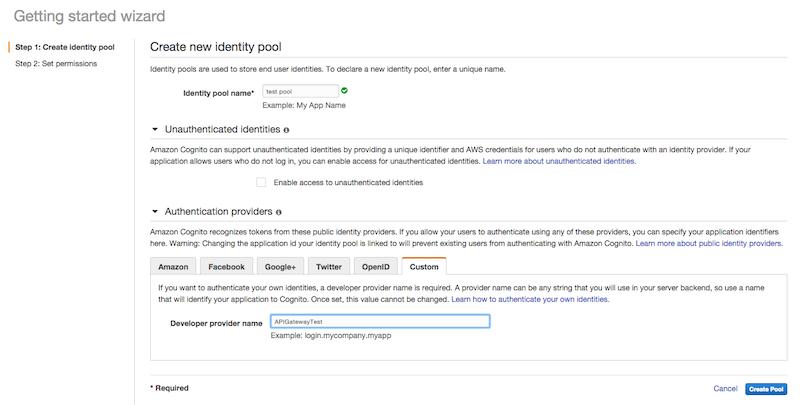 Cognito Create Identity Pool Screenshot