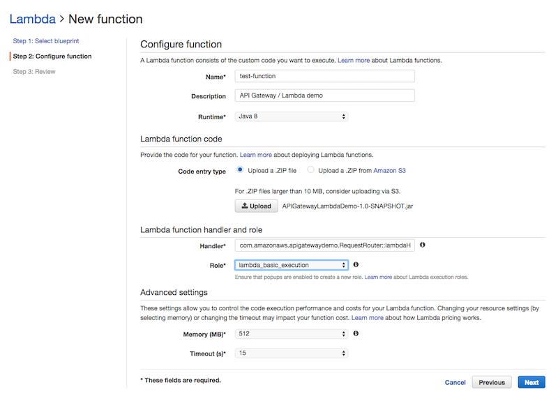 Lambda Create Function Screenshot
