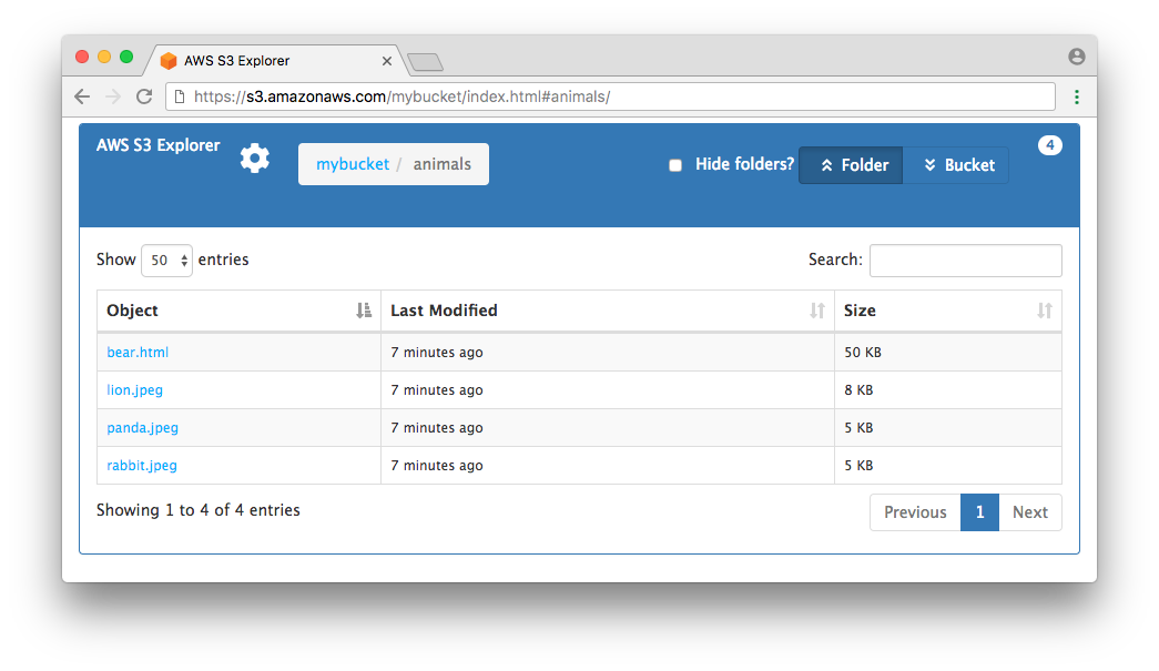 Folder selected screen