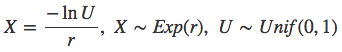 Sampling from an exponential distribution