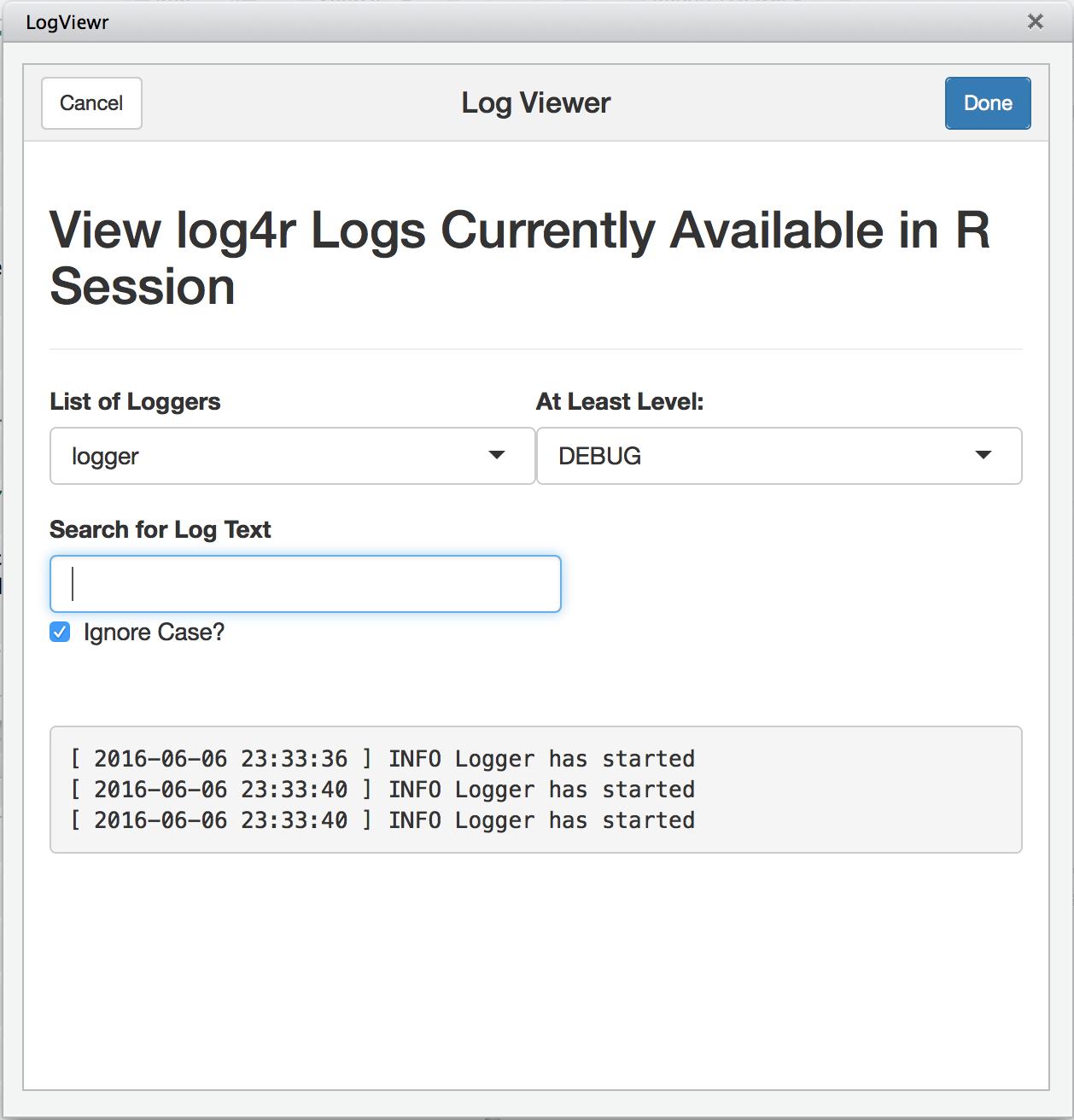 Log Viewer Pane Screenshot