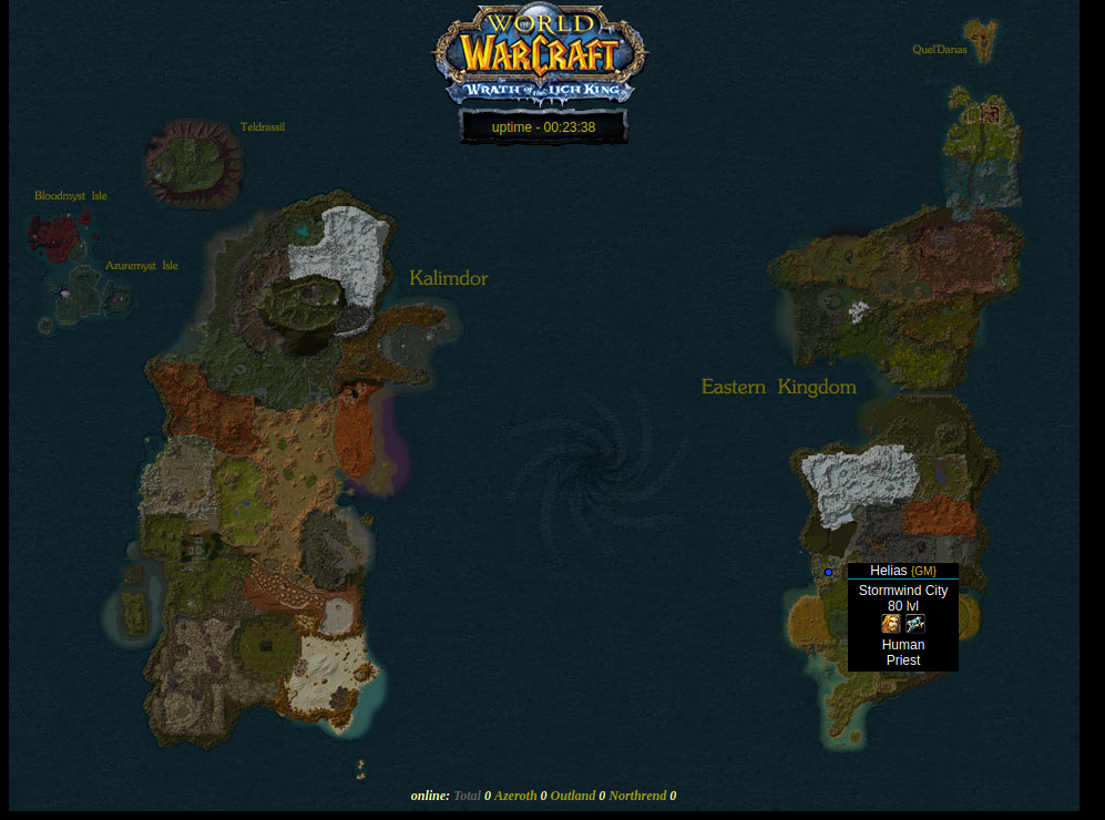 Eastern Kingdom World of Warcraft Playermap