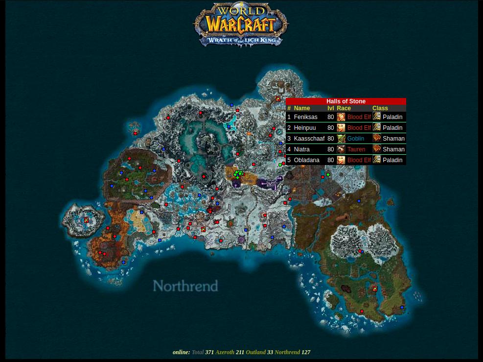 Northrend World of Warcraft Playermap