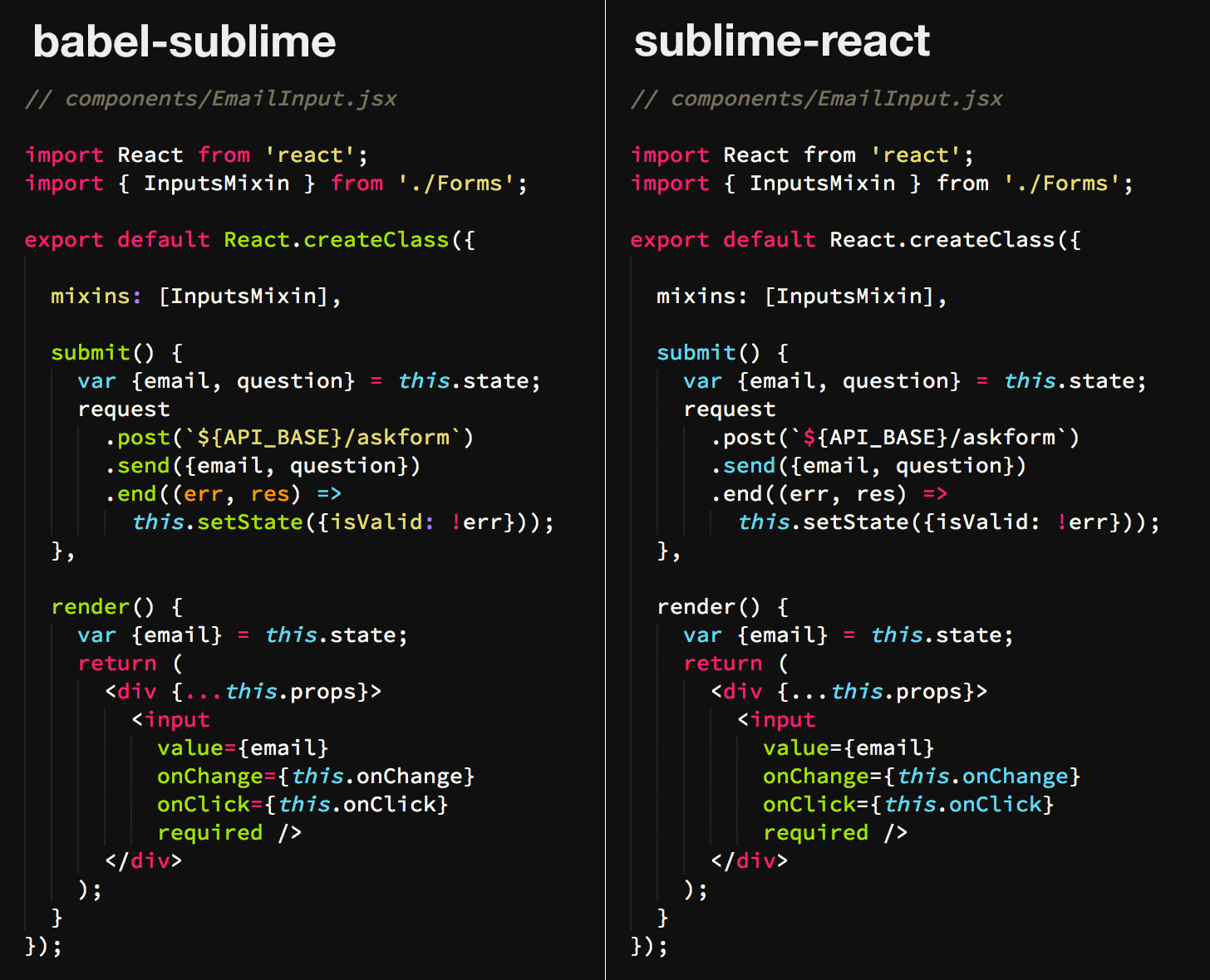 babel-sublime-vs-sublime-react--react-class