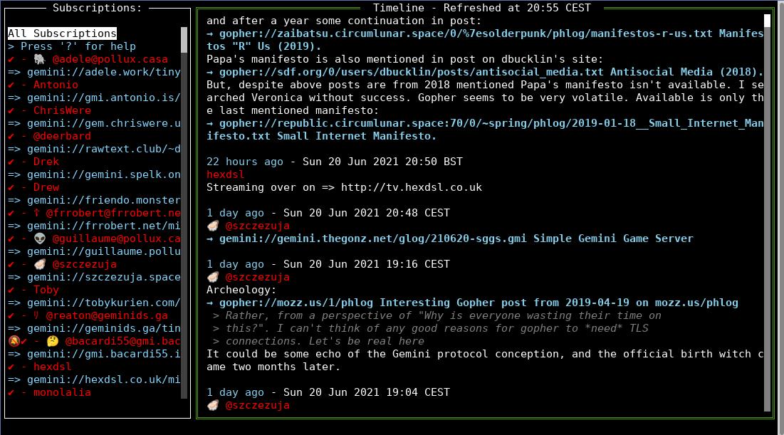 Gtl TUI screenshot