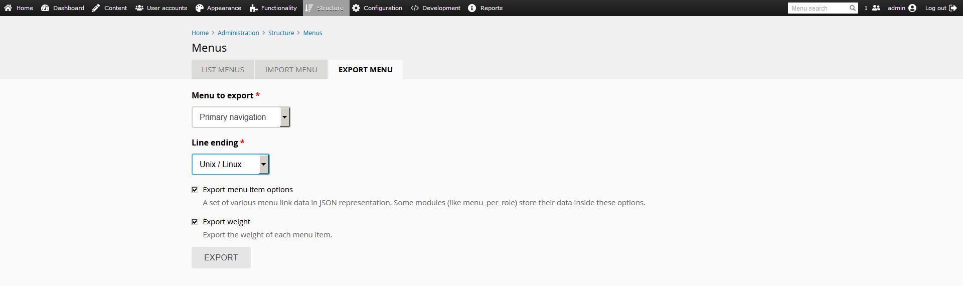 menu export screenshot