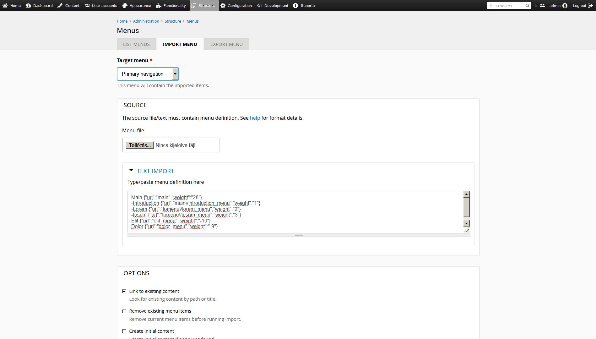 menu import screenshot