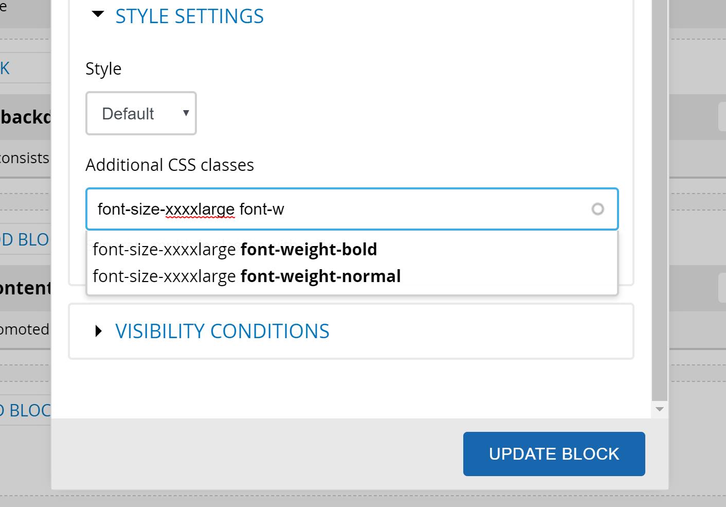 Screenshot of utility class module suggesting classes in block configuration
