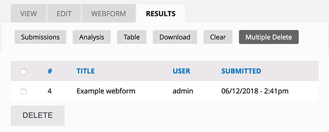 Webform Submissions Multiple Delete