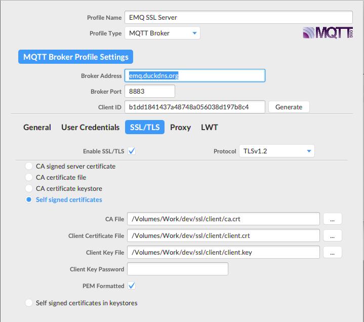 MQTT.fx settings