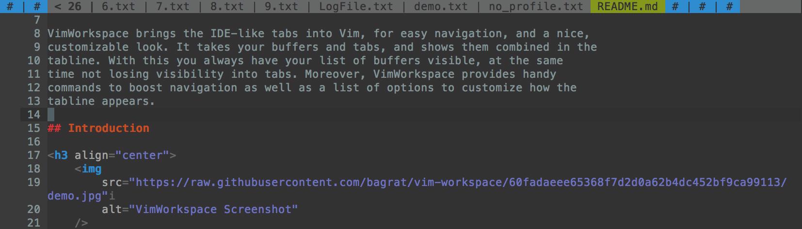 VimWorkspace Screenshot