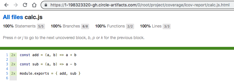 Report generated and stored on CircleCI