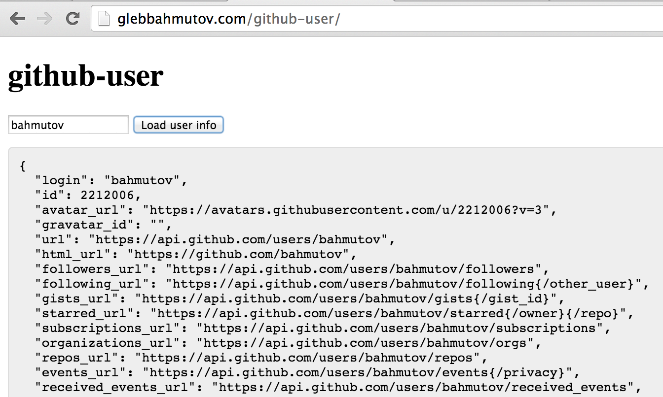 github user screenshot