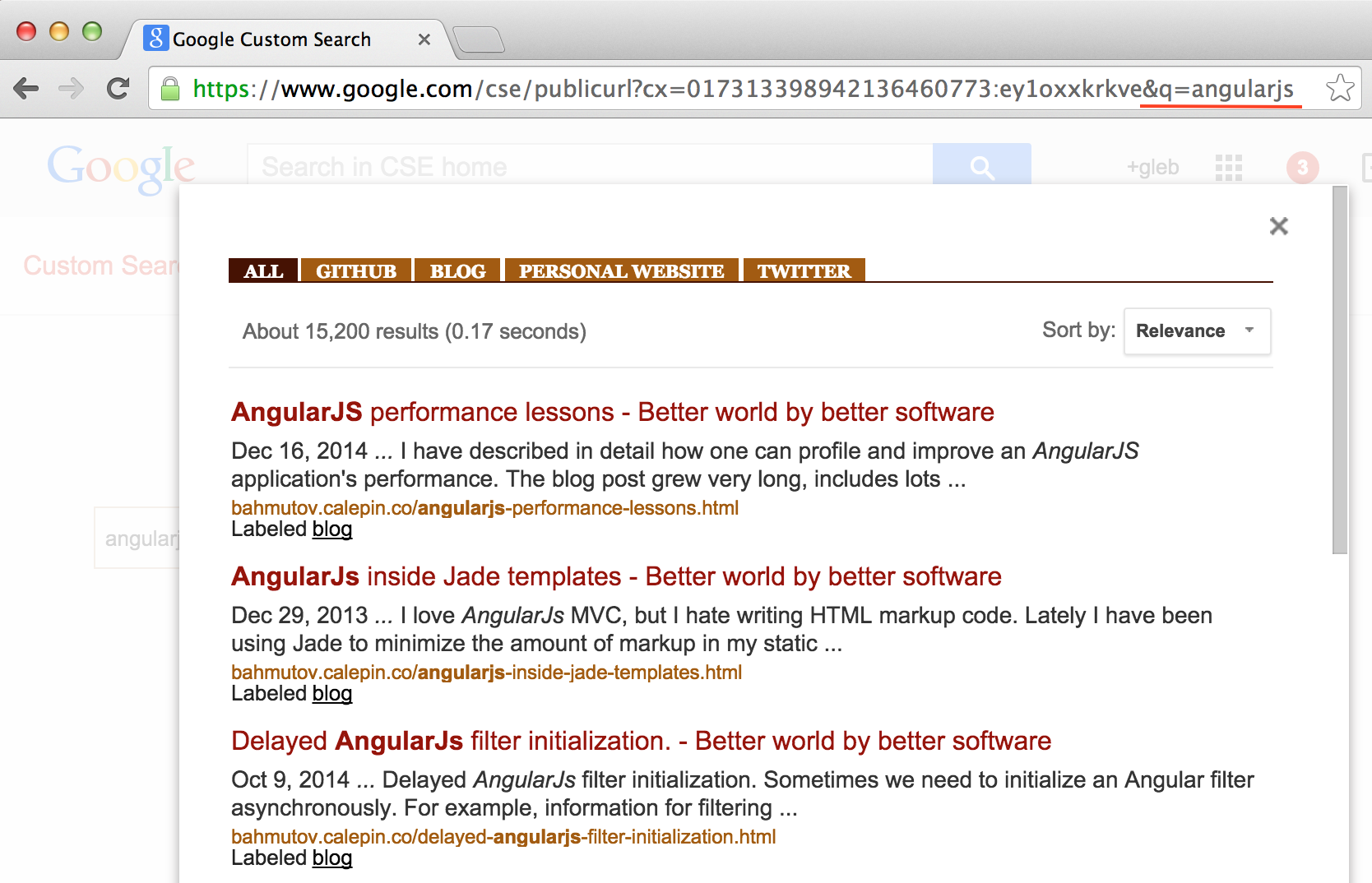 Search across my blog posts and github projects | Better