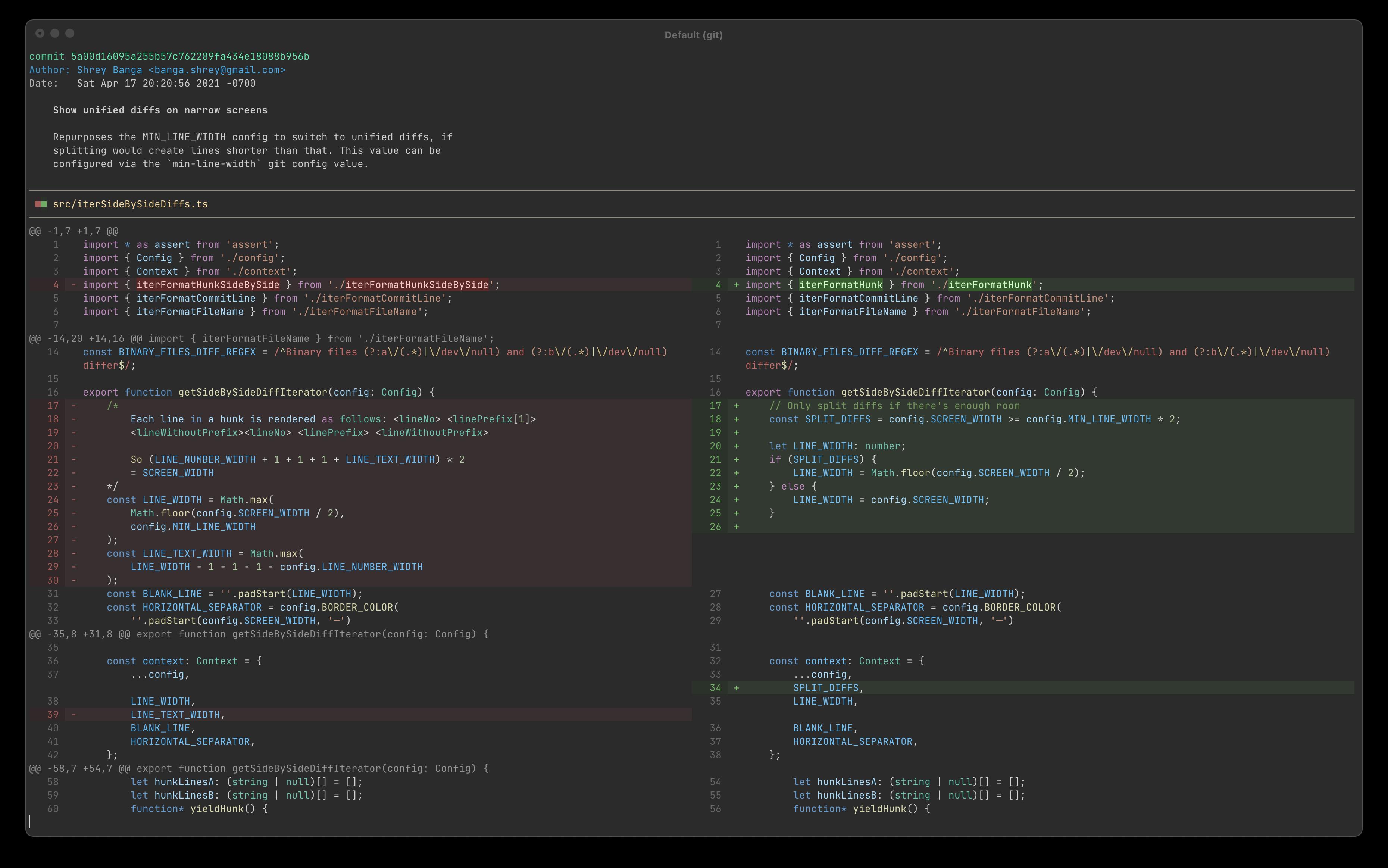 Screenshot of dark theme