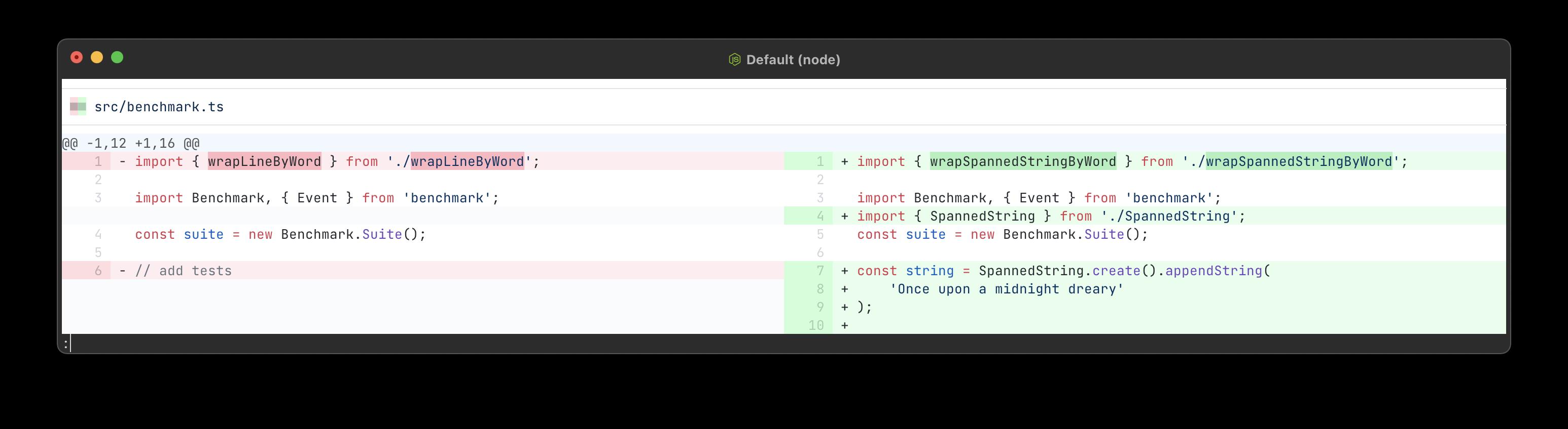 Screenshot of inline changes