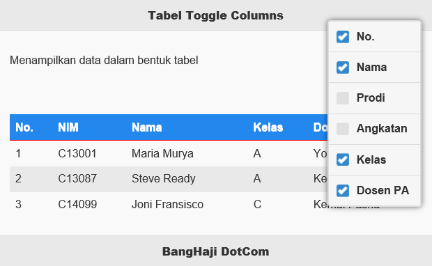 Toggle Columns Show jQuery Mobile Table