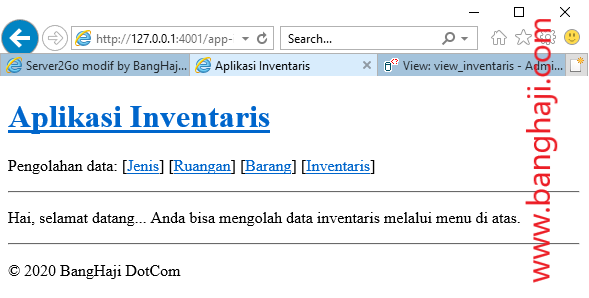 Halaman index Aplikasi Inventaris