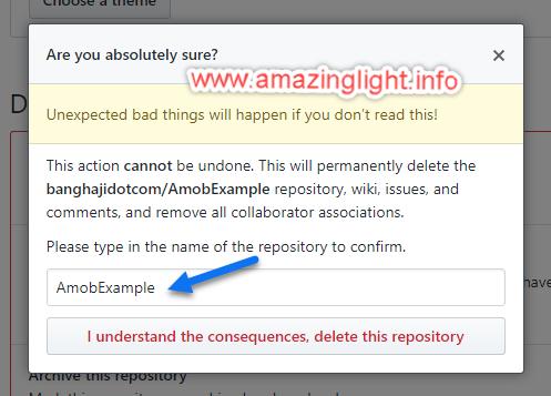 AmazingLight - GitHub Delete Confirmation