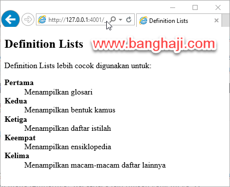 Belajar HTML (14): Membuat Definition Lists