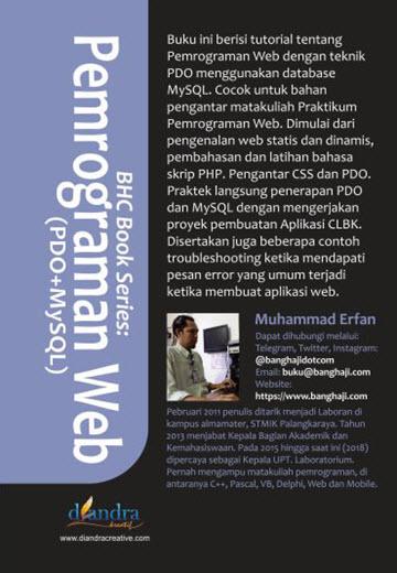 Cover Belakang BHC Book Series: Pemrograman Web (PDO+MySQL)